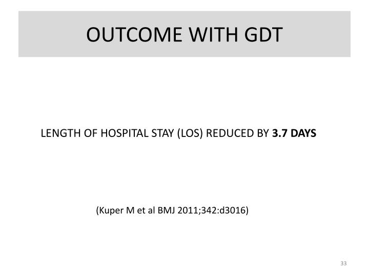 OUTCOME WITH GDT