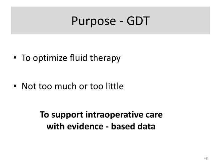 Purpose - GDT