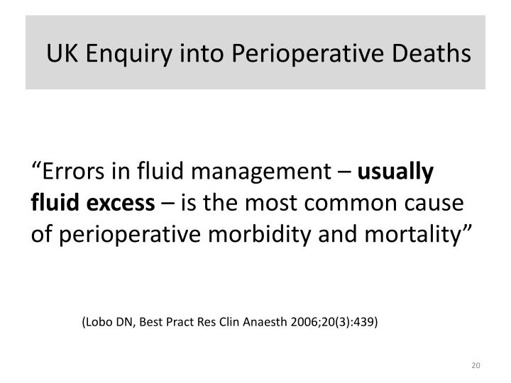 UK Enquiry into Perioperative Deaths