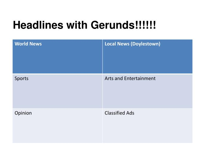 Headlines with Gerunds!!!!!!