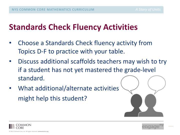 Standards Check Fluency Activities
