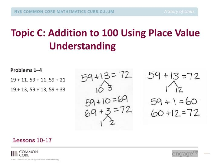 Topic C: Addition to 100 Using Place Value Understanding