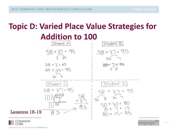 Topic D: Varied Place Value Strategies for Addition to 100