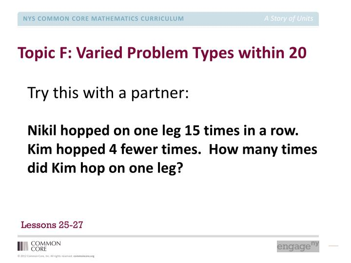 Topic F: Varied Problem Types within 20