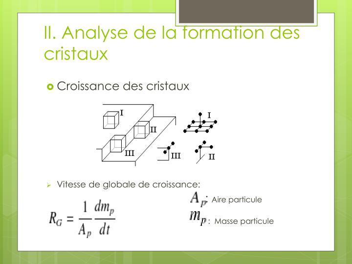 II. Analyse de la formation des cristaux