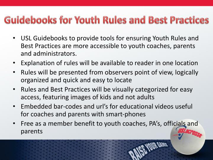 Guidebooks for Youth Rules and Best Practices