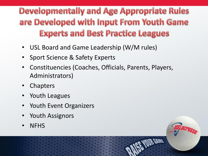 Developmentally and Age Appropriate Rules are Developed with Input From Youth Game Experts and Best Practice Leagues