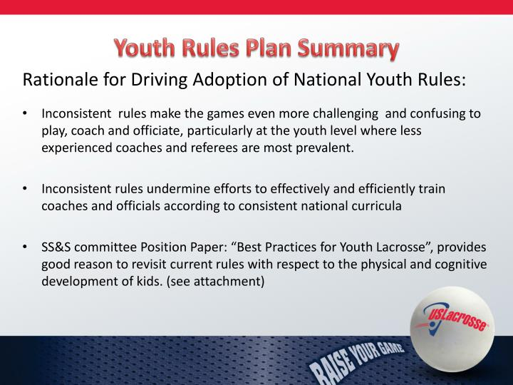 Youth Rules Plan Summary