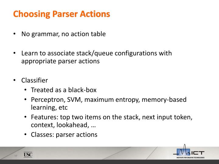Choosing Parser Actions