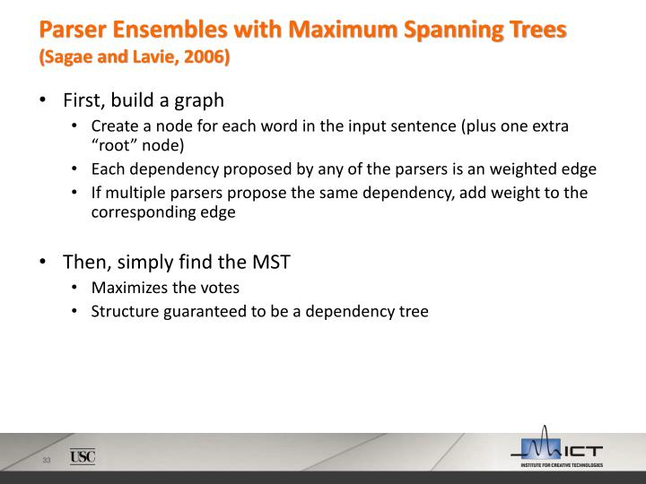 Parser Ensembles with Maximum Spanning Trees