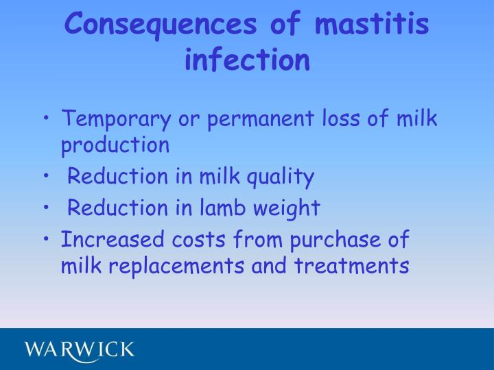 Consequences of mastitis infection