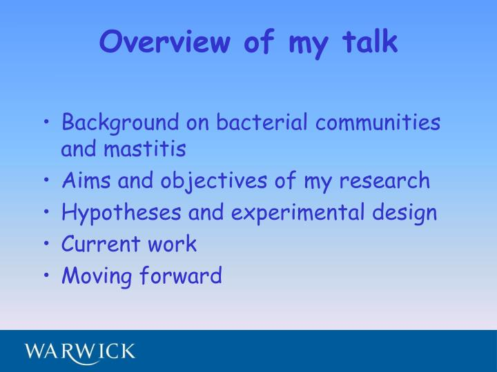Overview of my talk