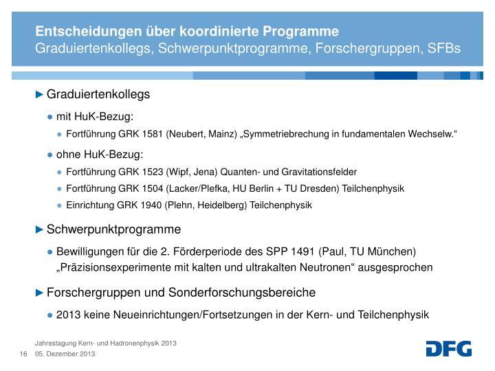 Entscheidungen über koordinierte Programme