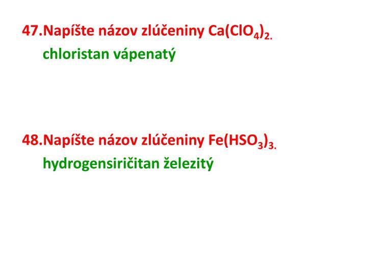 Napíšte názov zlúčeniny