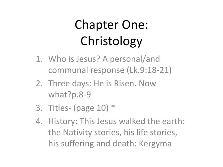 Chapter one christology