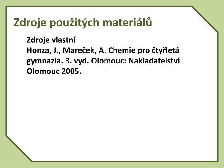 Zdroje použitých materiálů
