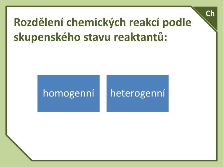 Rozdělení chemických reakcí podle skupenského stavu reaktantů: