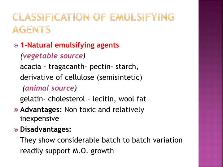Classification of emulsifying agents