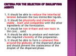 criteria for the selection of emulsifying agents