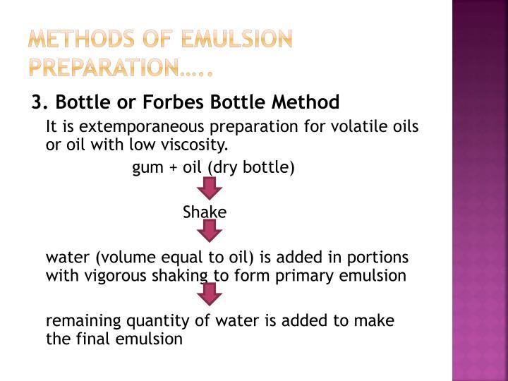 Methods of emulsion