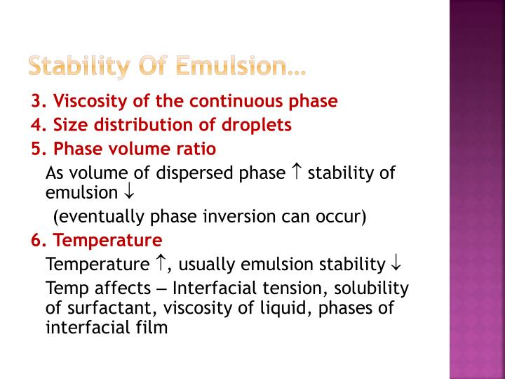 Stability Of Emulsion…