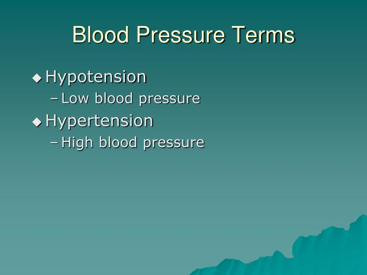 Blood Pressure Terms