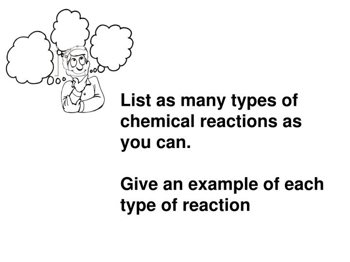 List as many types of chemical reactions as you can.