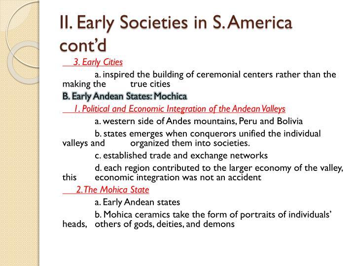 II. Early Societies in S.