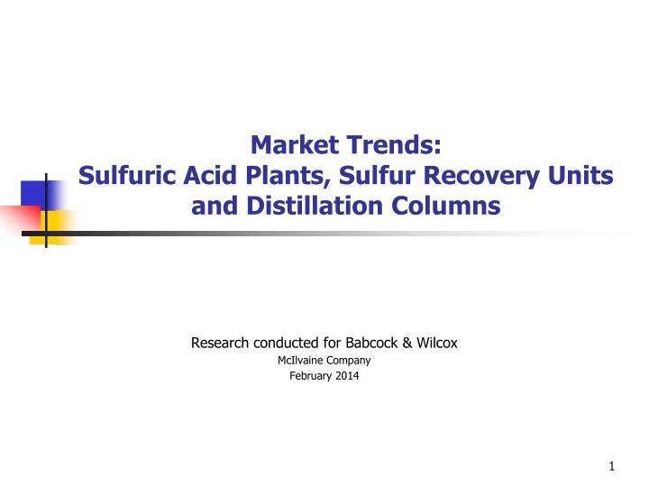 Market trends sulfuric acid plants sulfur recovery units and distillation columns