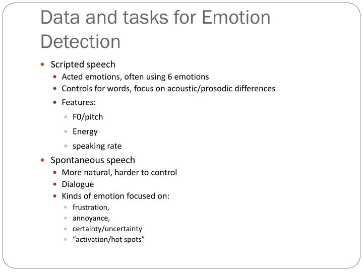 Data and tasks for Emotion  Detection
