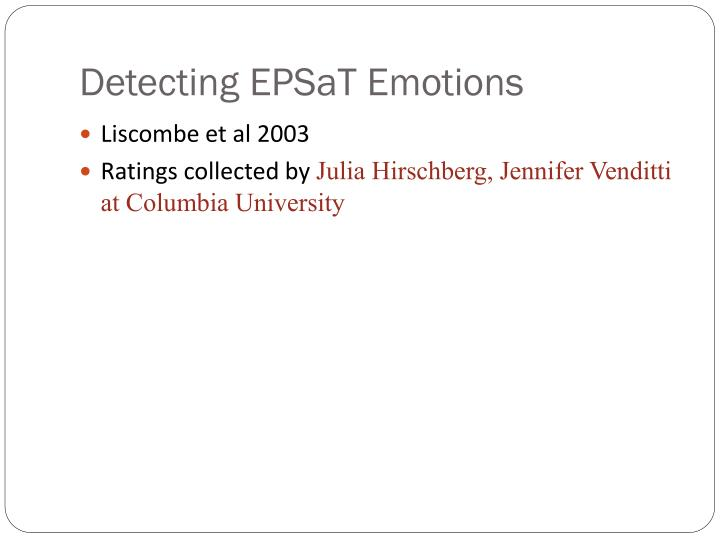 Detecting EPSaT Emotions