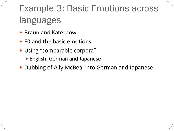 Example 3: Basic Emotions across languages
