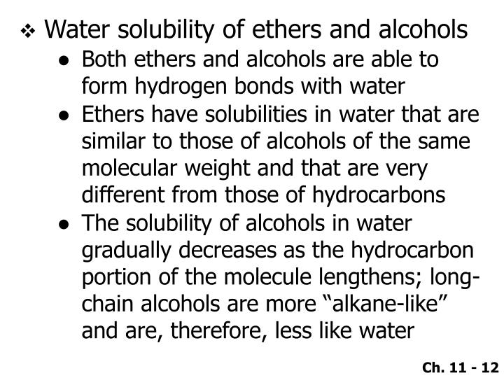 Water solubility of ethers and alcohols