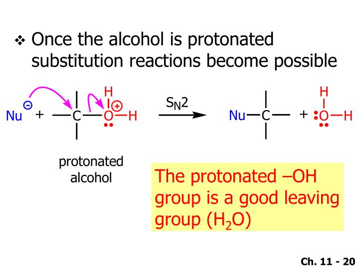 Once the alcohol is protonated substitution reactions become possible
