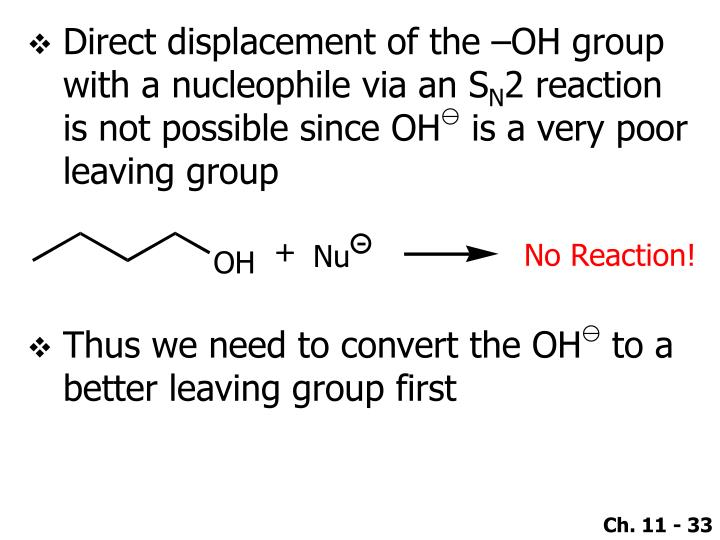 Direct displacement of the –OH group with a nucleophile via an S