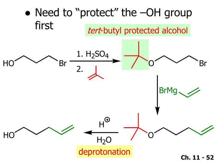 "Need to ""protect"" the –OH group first"