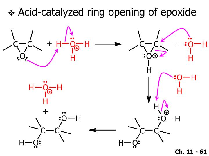 Acid-catalyzed ring opening of epoxide
