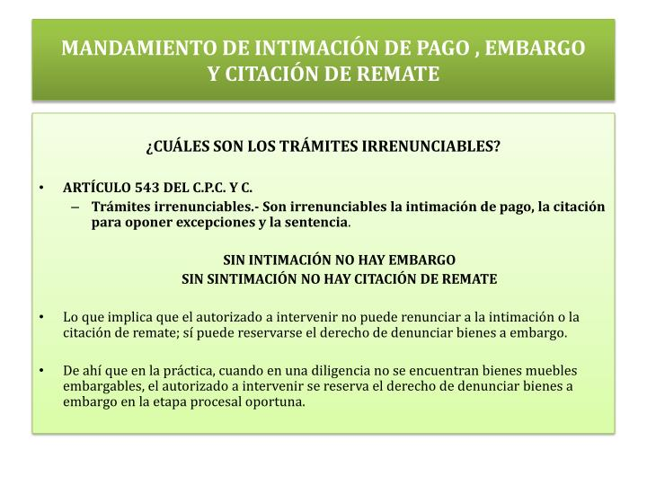 MANDAMIENTO DE INTIMACIÓN DE PAGO , EMBARGO