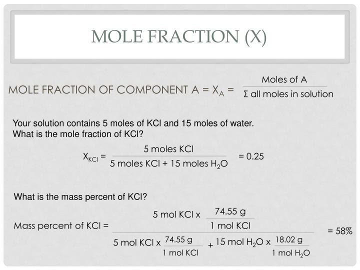 Mole fraction (x)