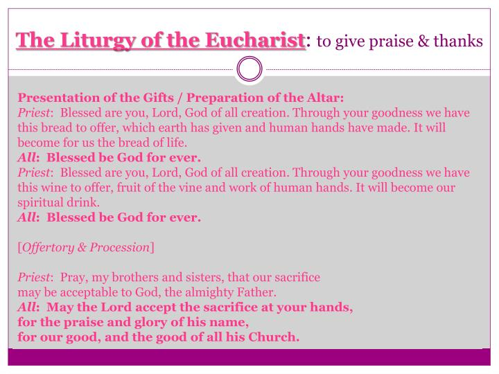 The Liturgy of the Eucharist