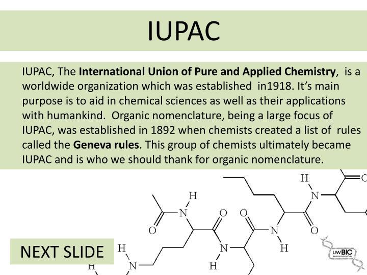 IUPAC, The