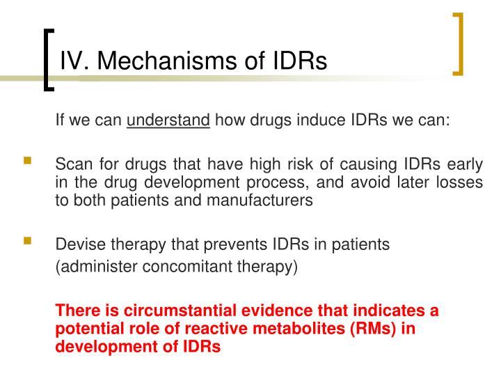 IV. Mechanisms of IDRs