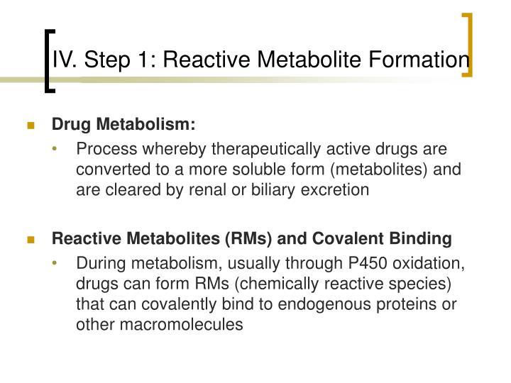 IV. Step 1: Reactive Metabolite Formation