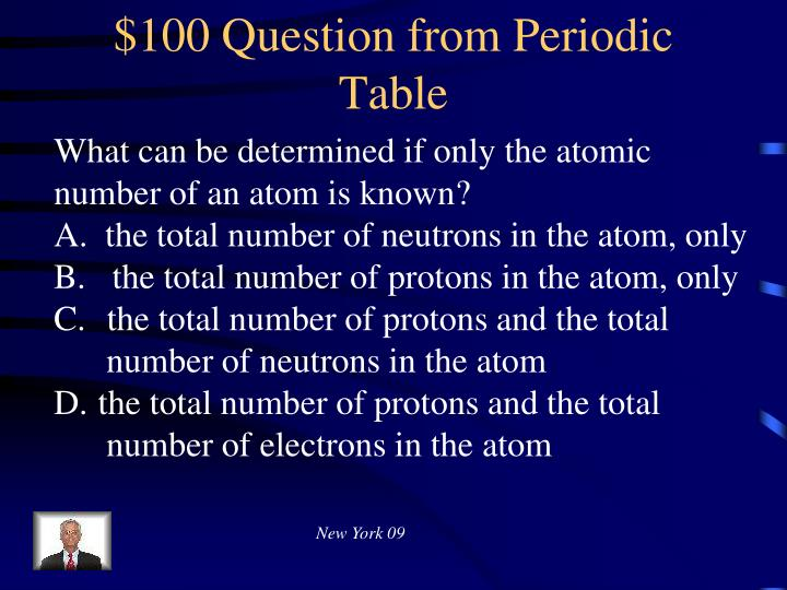 $100 Question from Periodic Table