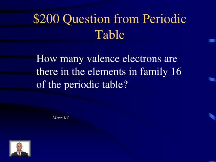 $200 Question from Periodic Table