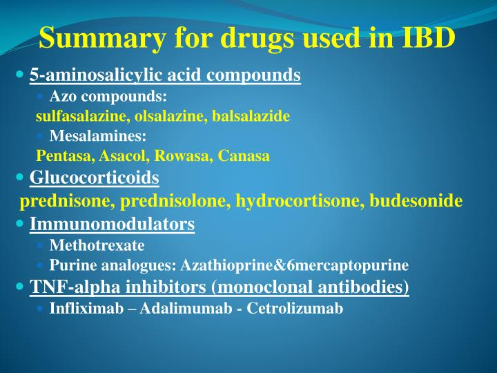 Summary for drugs used in IBD