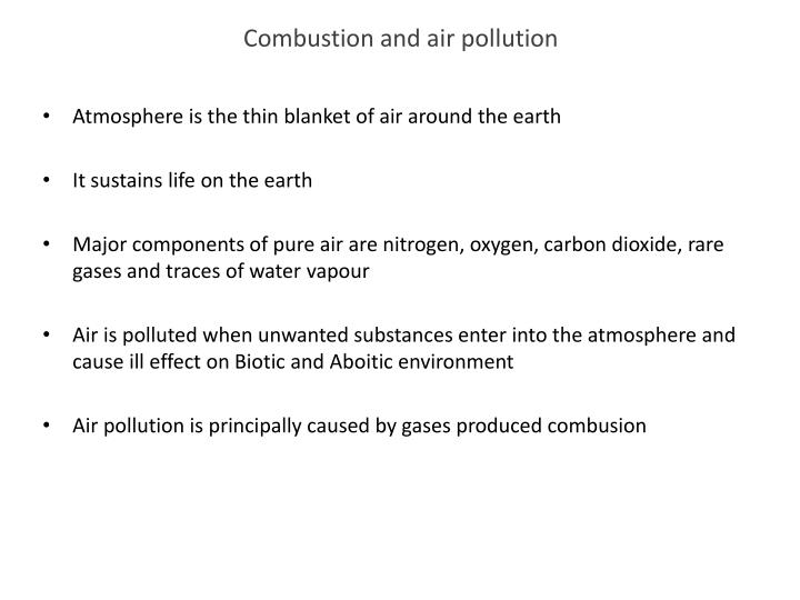 Combustion and air pollution