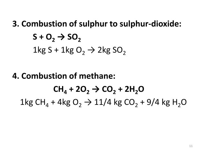 3. Combustion of sulphur to sulphur-dioxide: