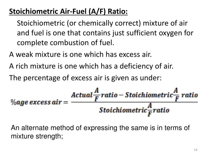 Stoichiometric Air-Fuel (A/F) Ratio: