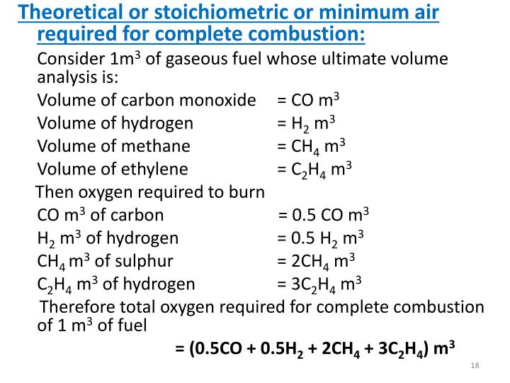 Theoretical or stoichiometric or minimum air required for complete combustion: